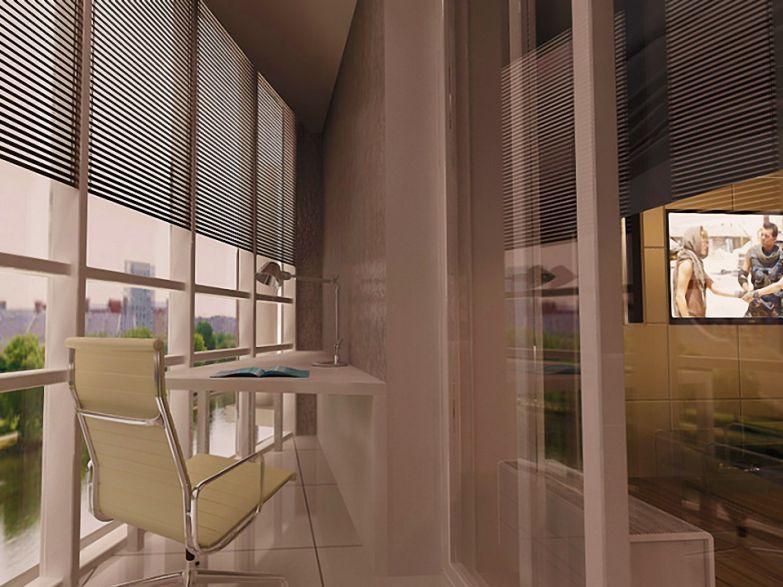 Кабинет на угловом балконе фото