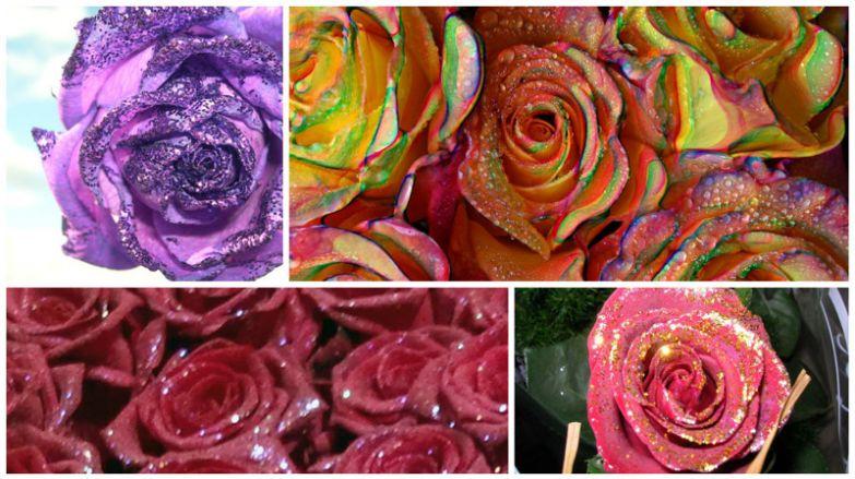 Если уж непременно хочется видеть блестки на цветах, просто достаточно попросить посыпать ими выбранные свежие розы. низкое качество, обман, флористика, цветы