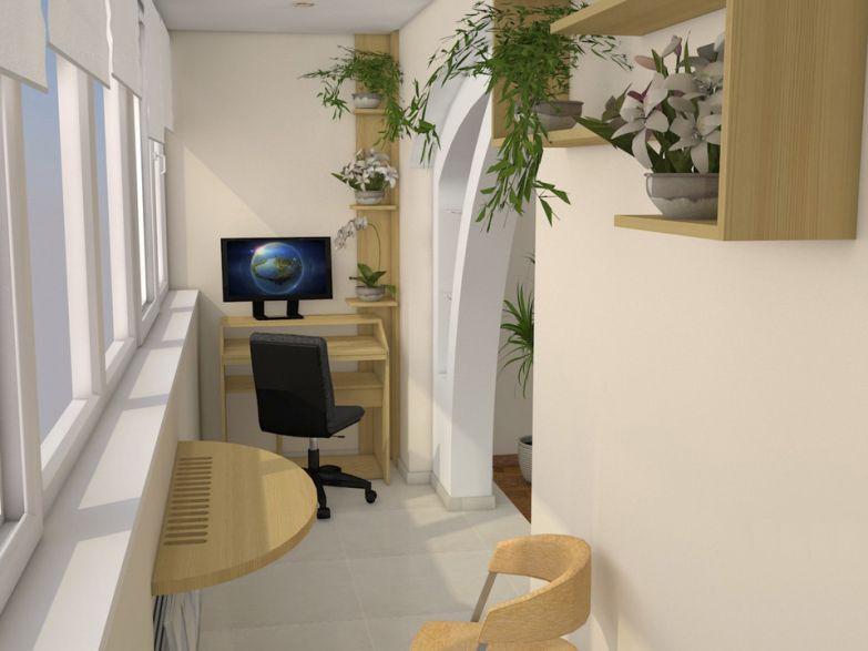 Рабочий кабинет на узком балконе фото