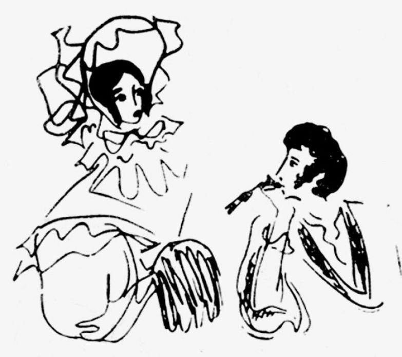 Пушкин с женой. Из цикла «Пушкиниана». Перо. 1966 год.