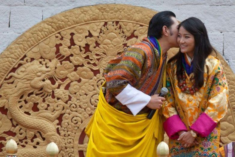 Бутанский король и королева в день свадьбы