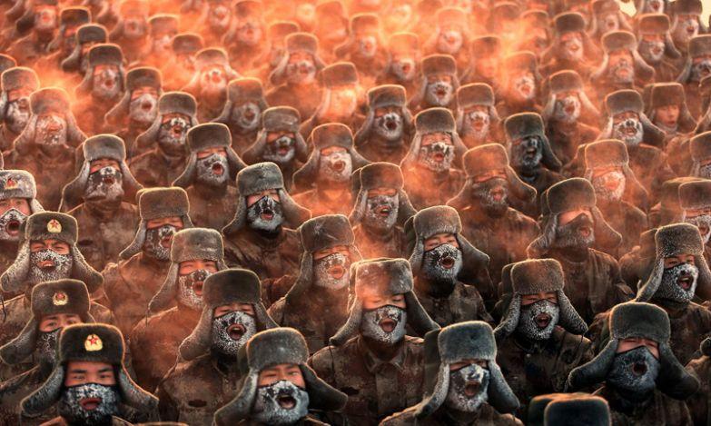 Китайские солдаты делают дыхательные упражнения при -28 градусах без фотошопа, природа, удивительные фото, человек