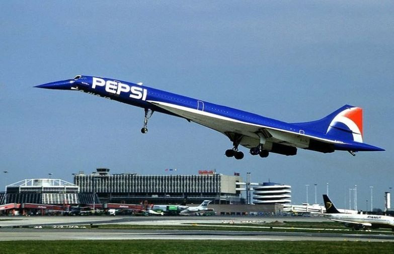 Конкорд, рекламирующий Pepsi. необычные самолёты, раскраска, самолёты