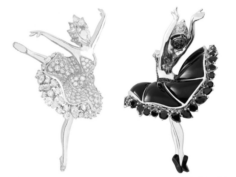 Броши «Лебединое Озеро»: Одетта (белое золото, бриллианты) и Одиллия (белое золото, черная шпинель, бриллианты)