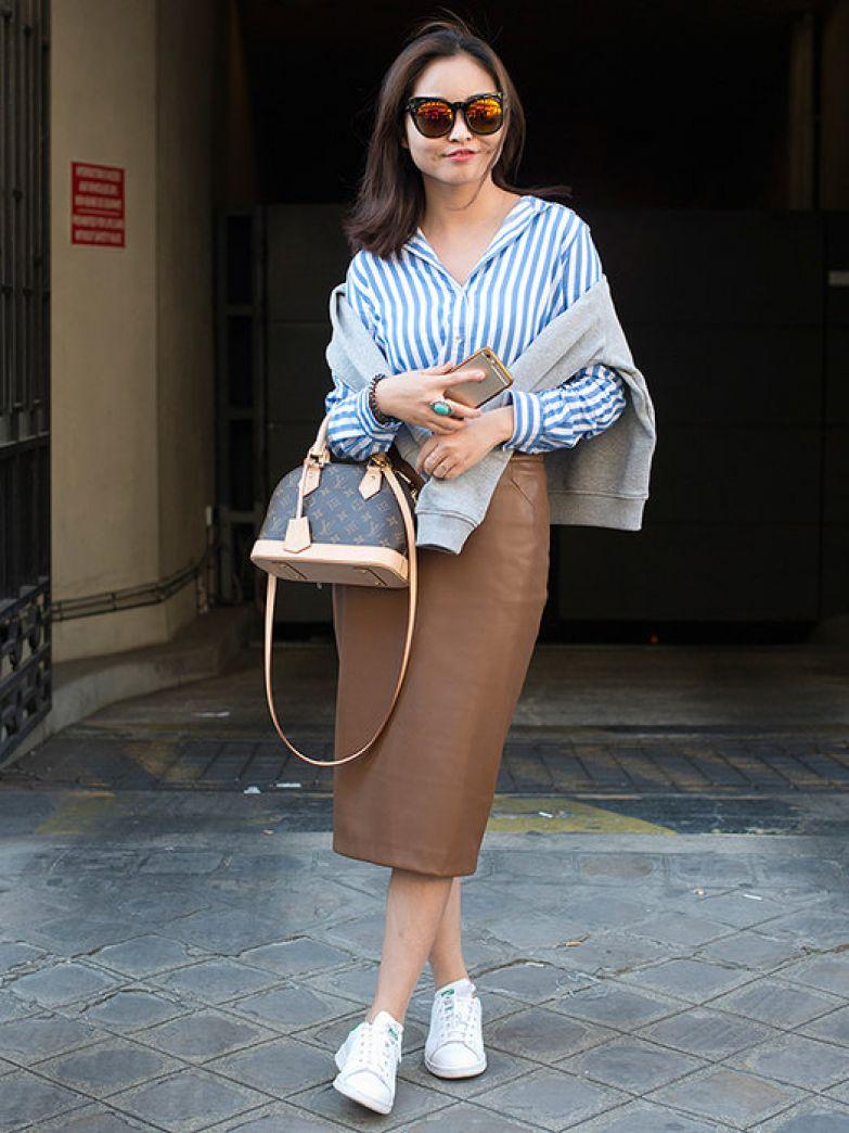 модные кожаные юбки фото