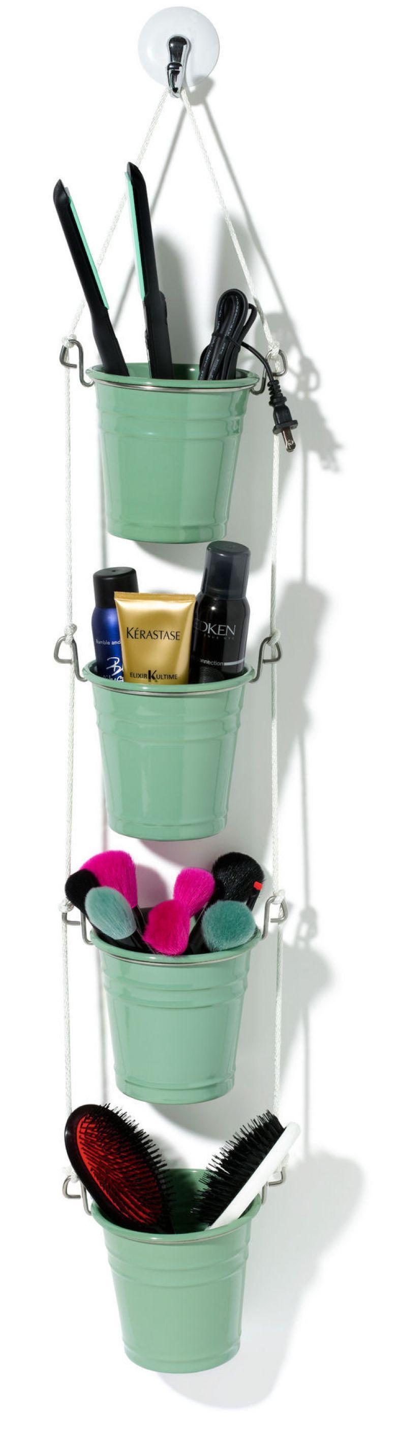 18. Или сделайте вот такой милый органайзер из цветочных горшков. ванная комната, лайфхаки, уют