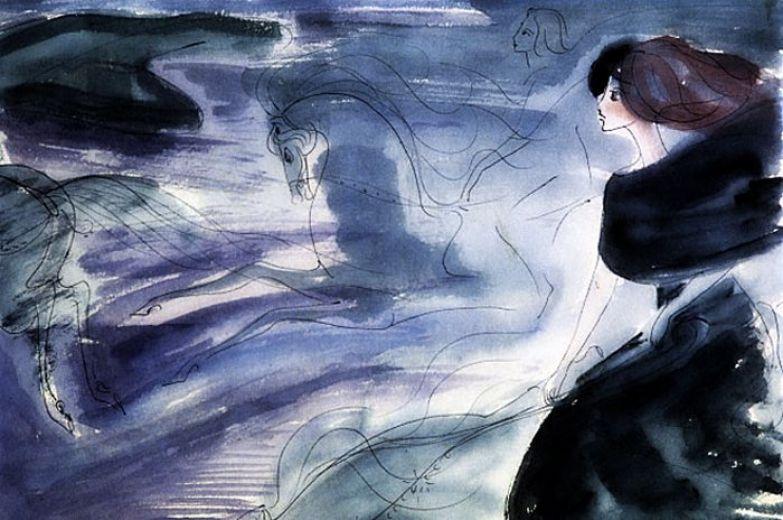 Репродукция рисунка Нади Рушевой к последней сцене романа М. Булгакова «Мастер и Маргарита». (1968 год. 16 лет).