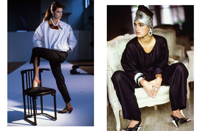 Туфли Maud Frizon на съемке для Vogue US, март 1982, и Vogue US, май 1985. Фотограф: Артур Элгорт.