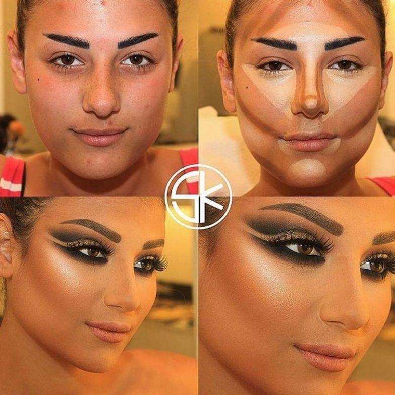 7. Нельзя недооценивать силу макияжа до и после макияжа, контуринг, макияж