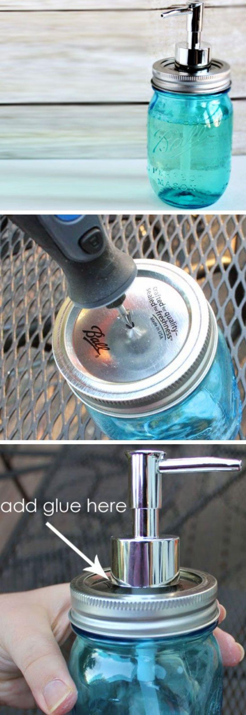 1. Из плотно завинчивающейся банки получается прекрасный диспенсер для жидкого мыла. ванная комната, лайфхаки, уют