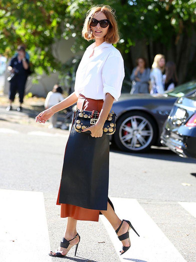 женские кожаные юбки фото