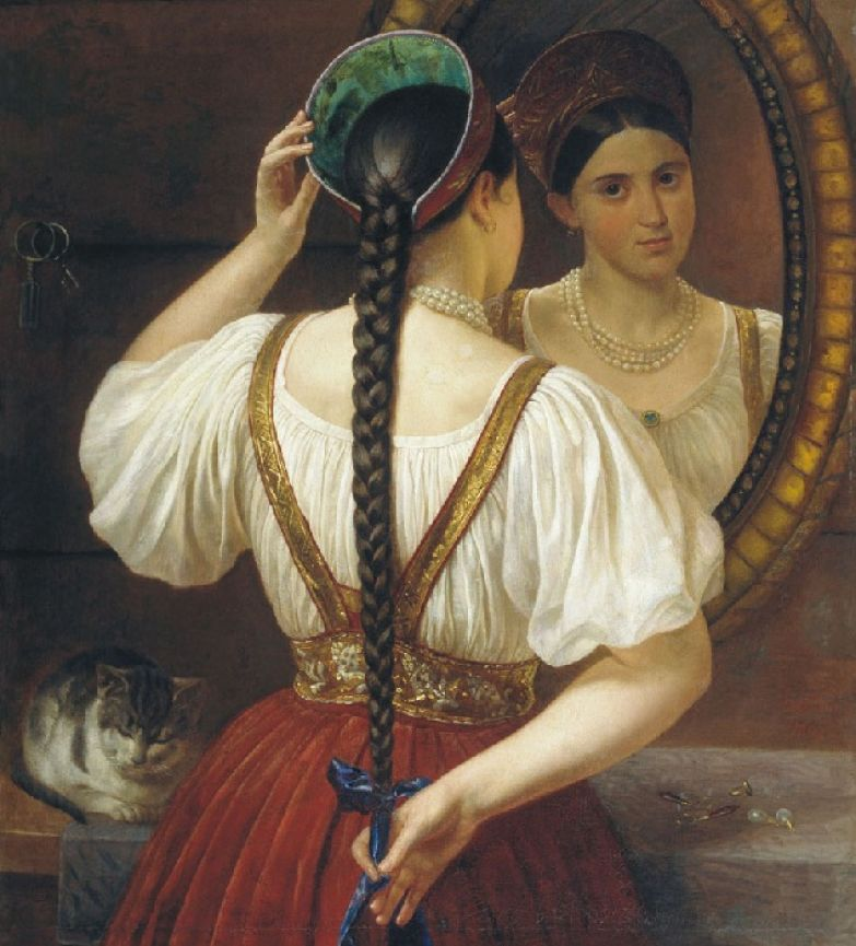 Филипп Будкин. Девушка перед зеркалом. 1848 .