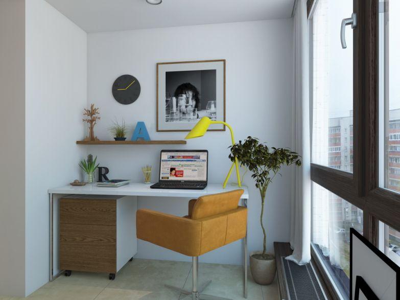 Кабинет на балконе с панорамными окнами фото