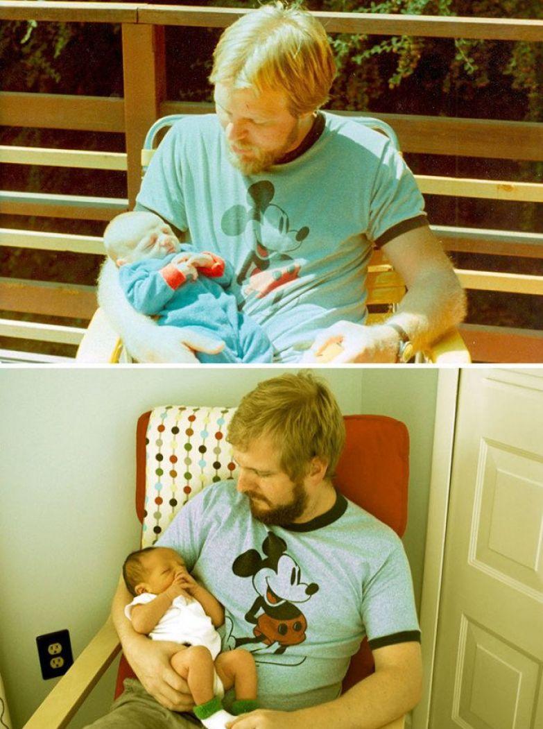 Фото 1: Отец с 29 лет, и его сын с 2-х недель Фото 2: сын с 29 лет, а его сын с 2-х недель