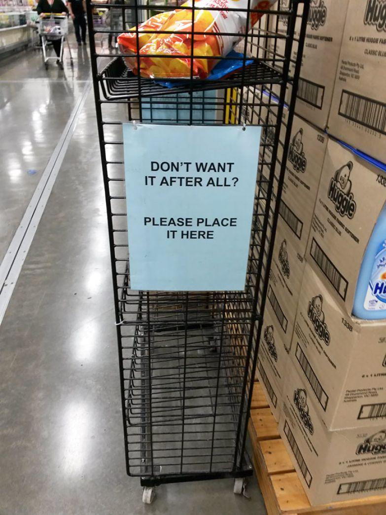 Супермаркет, поставивший специальные полки для покупок, брать которые вы передумали еще до кассы нестандартно, оригинально, проблемы, решения