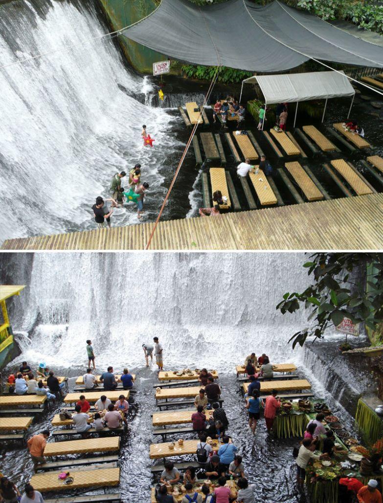 Обед у водопада, ресторан Labassin Waterfall, Сан-Пабло, Филиппины мир, подборка, ресторан