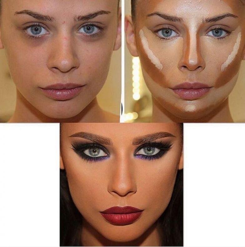 3. Заостренные скулы до и после макияжа, контуринг, макияж