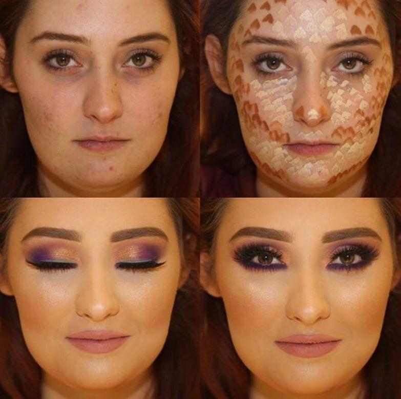 6. Чудесное преображение до и после макияжа, контуринг, макияж