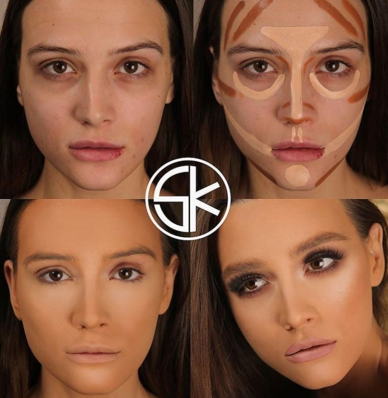 4. Все недостатки скрыты до и после макияжа, контуринг, макияж