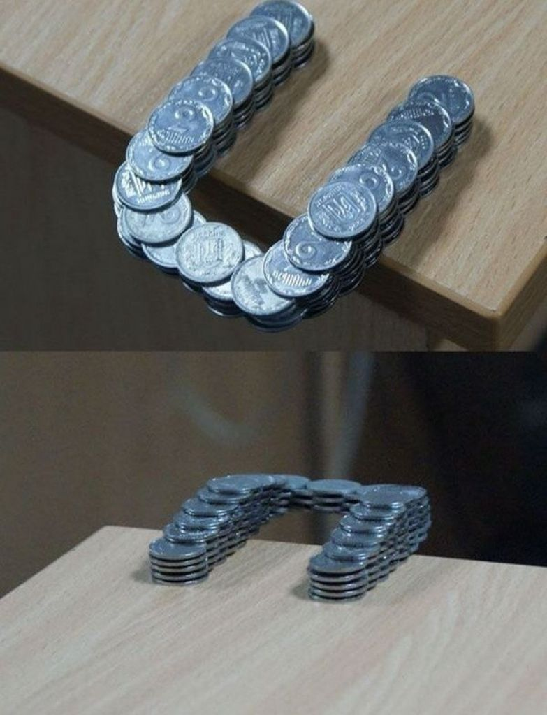 5. Эти монеты не склеены, а просто тщательно сложены: интересные фото, удивительное рядом, факты