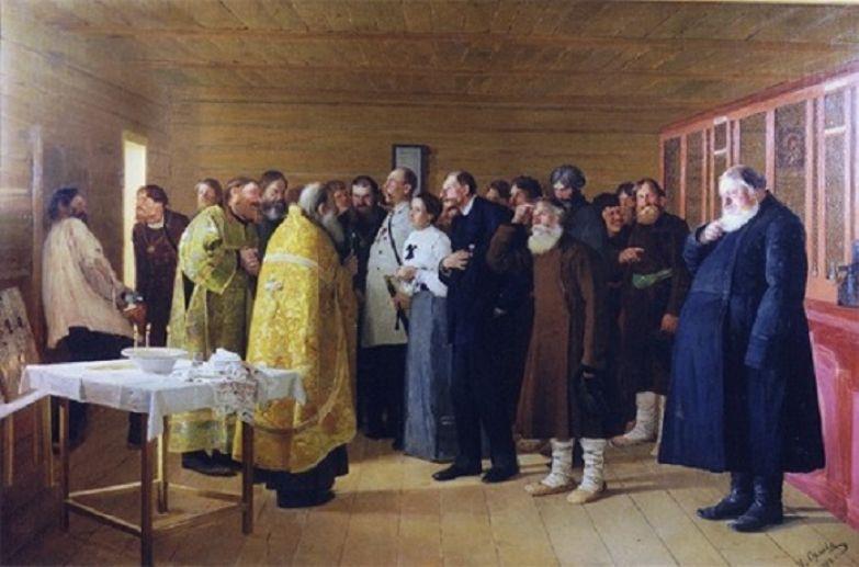 Николай Орлов. «Освящение водочного магазина». 1904 г.