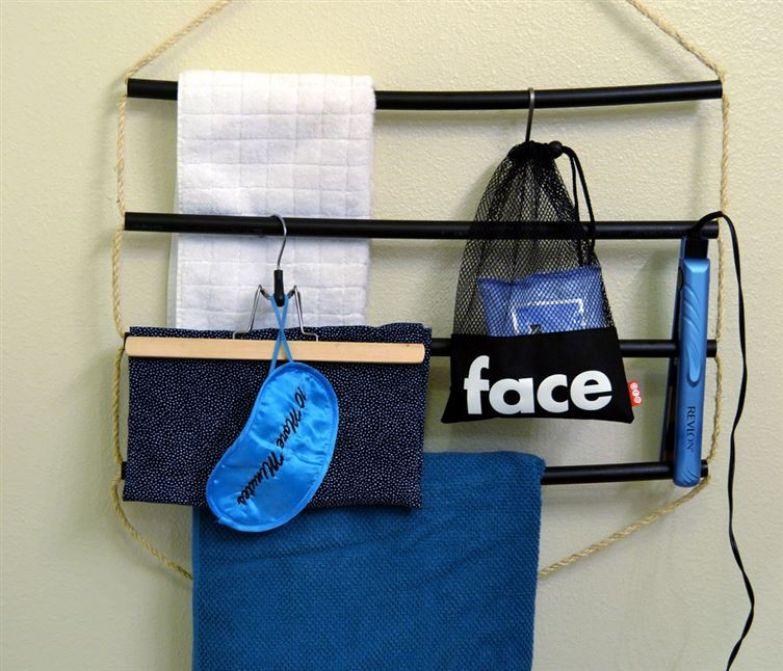 8. Сделайте свою собственную вешалку для полотенец. ванная комната, лайфхаки, уют