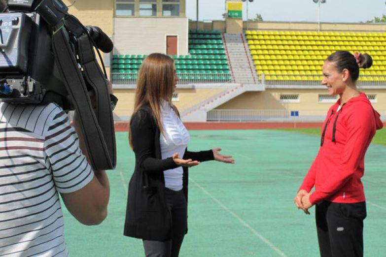 Алина Кабаева на съемках авторской передачи «Шаги к успеху»