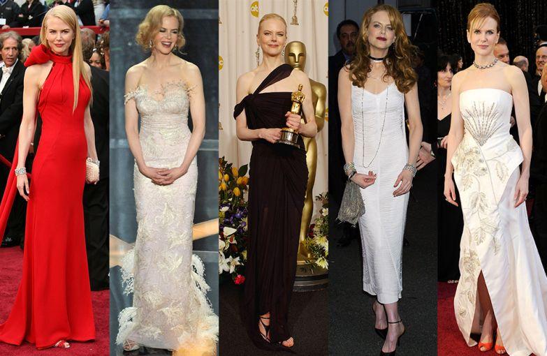 Николь Кидман на вручении премии «Оскар», 2007; на вручении премии «Оскар», 2009; на вручении премии «Оскар», 2003 – приз за лучшую женскую роль; на премьере фильма «Мулен Руж», 2001