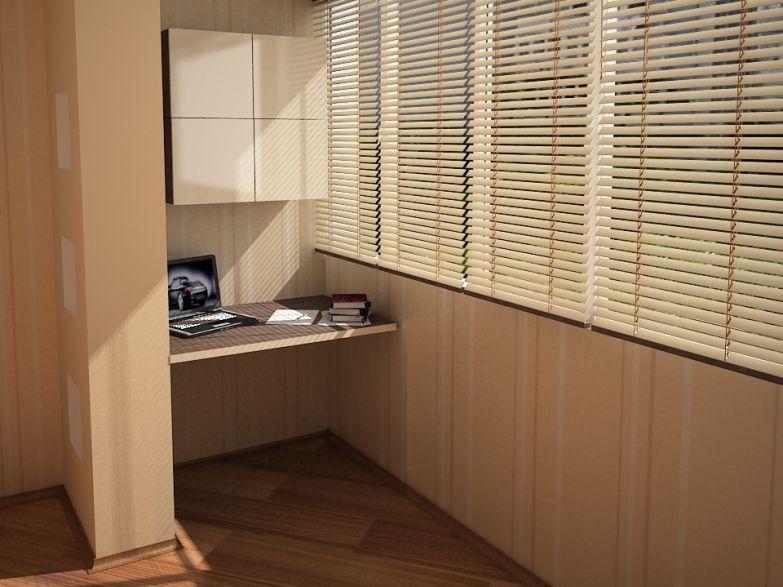 Рабочее место на совмещенном балконе фото