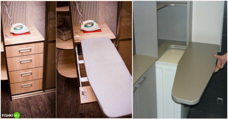 Доски легко встраиваются в любой шкаф, а бывают и специальные откидные в шкафчиках ванной комнаты вещи, идеи, квартира, маскировка, полезное, решение