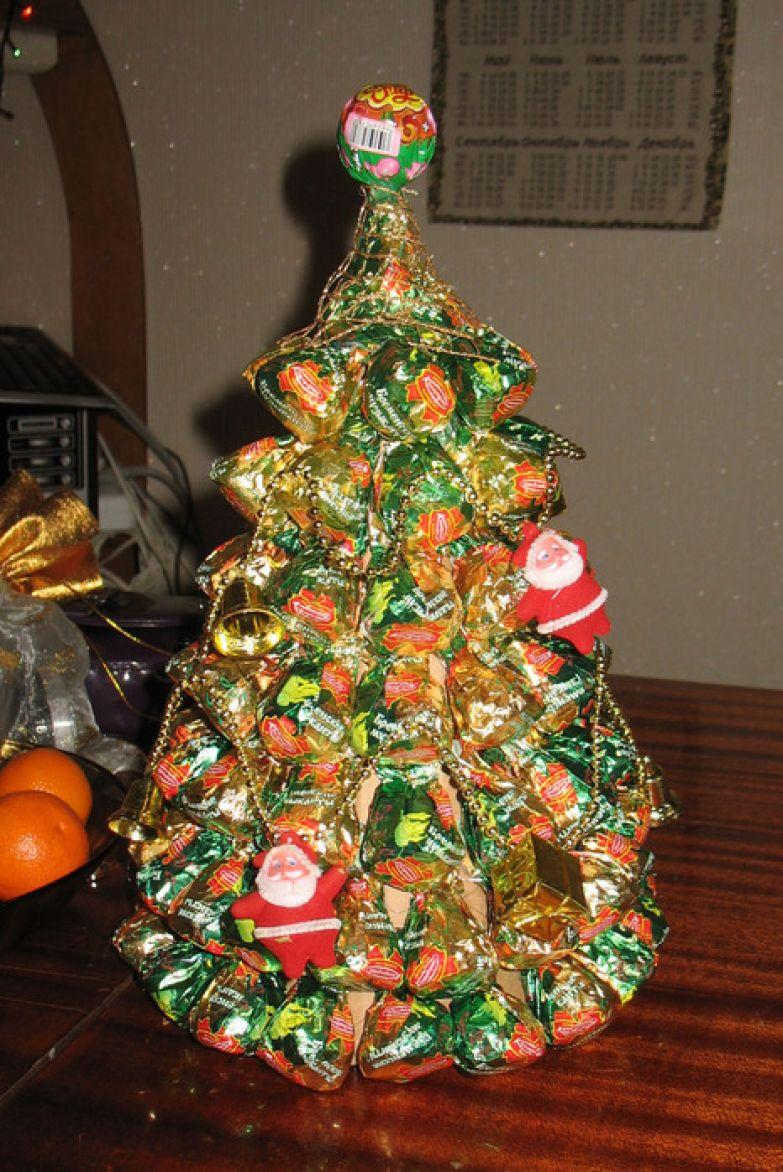 Как украсить шампанское конфетами на новый год фото