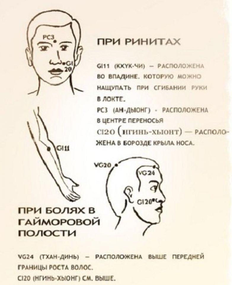 2.  Побороть надоедливый насморк помогут 3 точки на лице Бальзам, звездочка