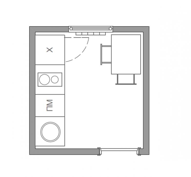 Фотография: в стиле , Кухня и столовая, Малогабаритная квартира, Советы, Перепланировка, Ольга Бондарь, кухня в хрущевке, кухня в доме серии I-515, планировка крошечной кухни, планировка кухни 5 квадратных метров – фото на InMyRoom.ru