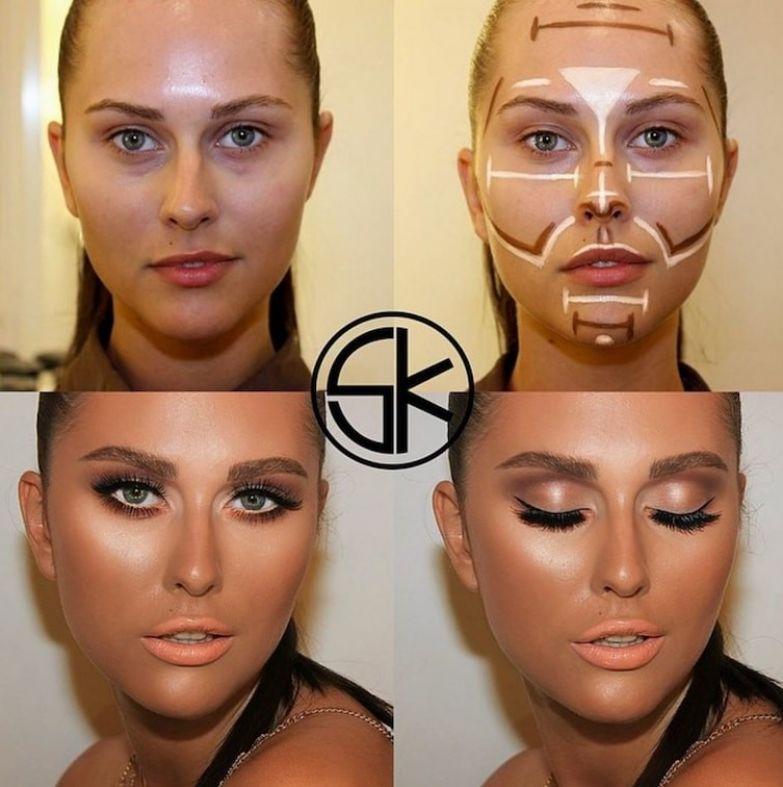 13. Какие милые узоры до и после макияжа, контуринг, макияж