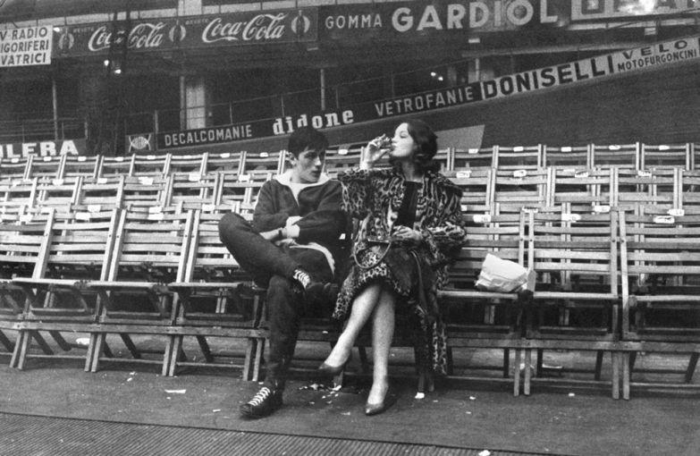 Ален Делон и Роми Шнайдер на съемках фильм «Рокко и его братья»,1960