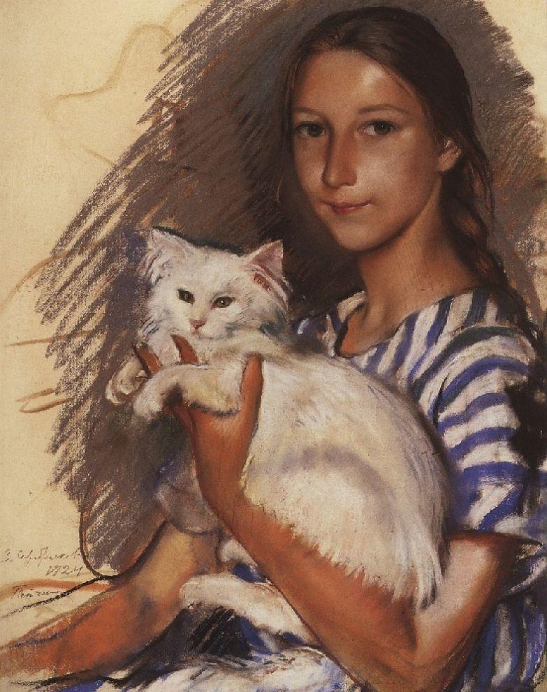 Зинаида Серебрякова, Портрет Наташи Лансере с кошкой.