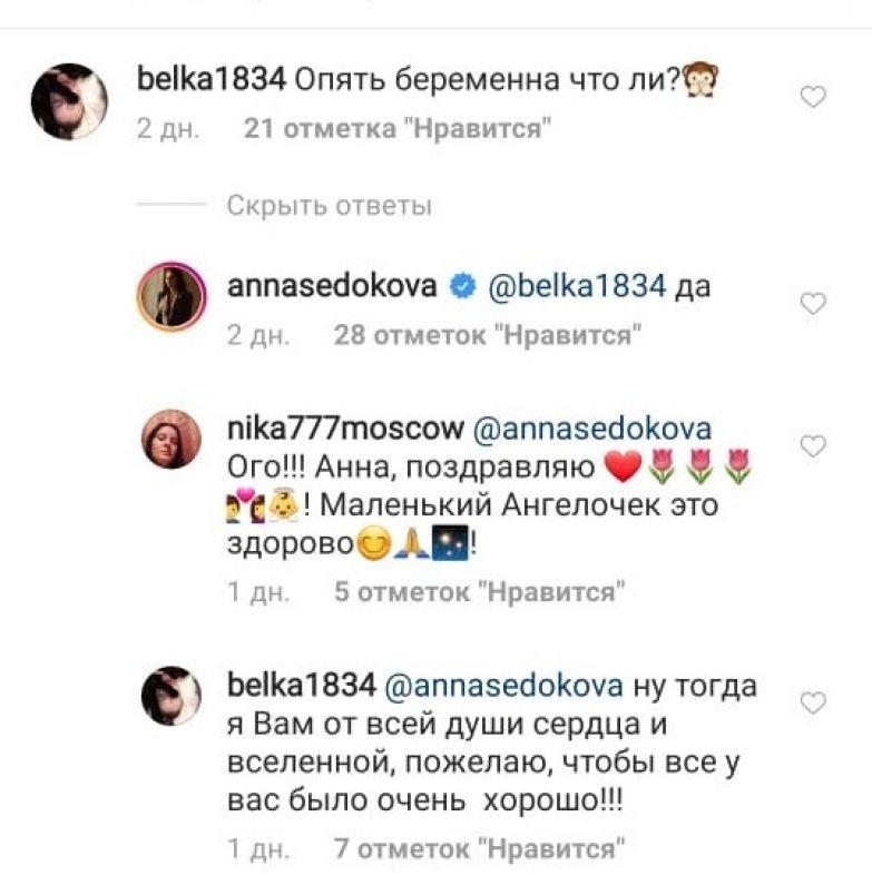 Седокова подтвердила беременность