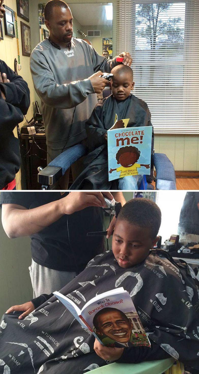 25. В этой парикмахерской детей стригут бесплатно, если они читают книжки вслух доброта, мир, поступок