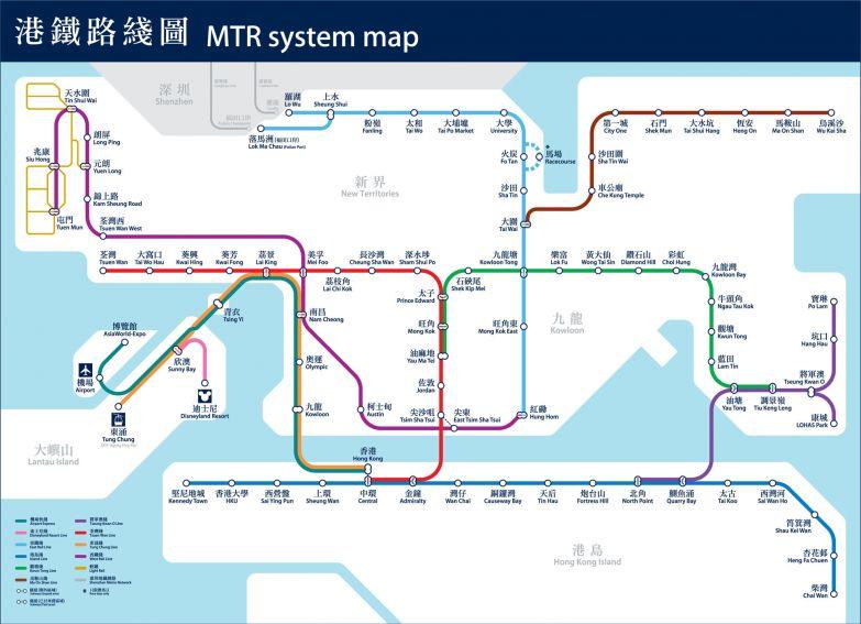 15. Гонконг — 104 станции (10 линий) в мире, карты, метро, транспорт