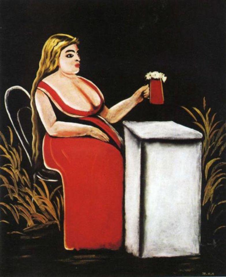 Нико Пиросмани. *Женщина с бокалом пива*