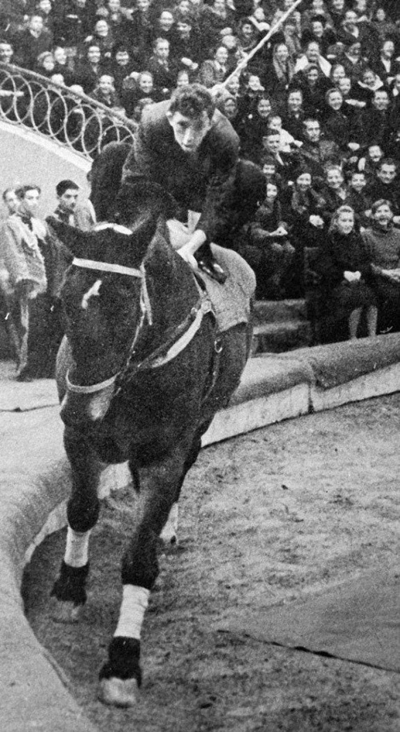 """Молодой клоун Юрий Никулин изображает """"человека из публики"""", который впервые сел на лошадь, 1947 год, Москва история, события, фото"""