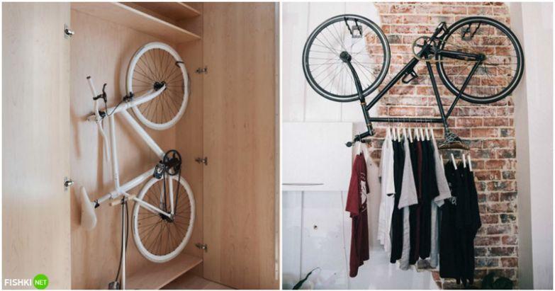 С велосипедом тоже вопрос. Если у вас шоссейный узенький - вам повезло. Он отлично вписывается в декор! вещи, идеи, квартира, маскировка, полезное, решение