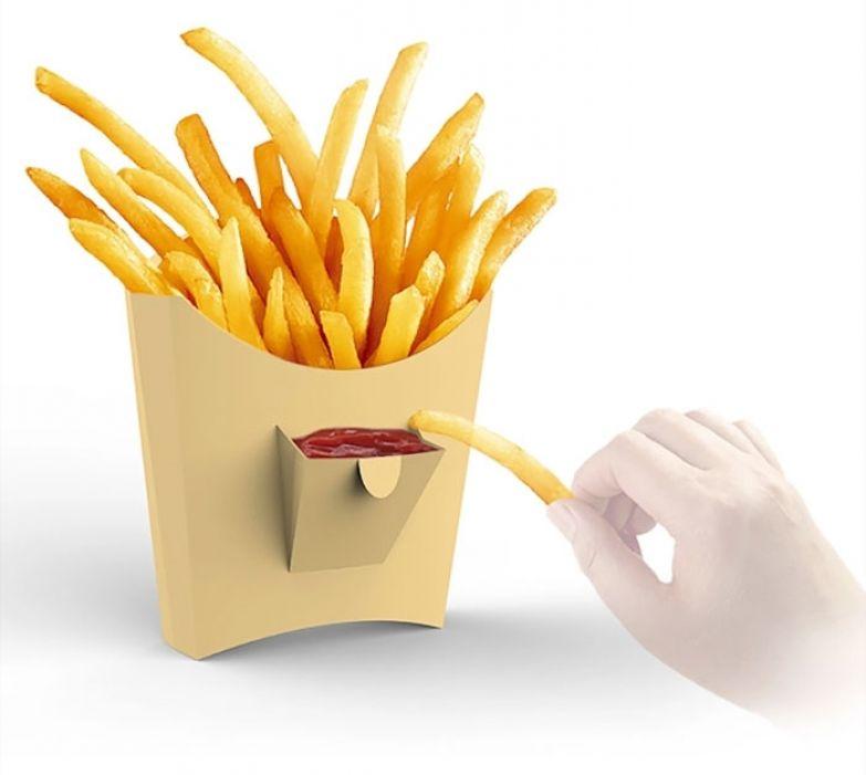 Компактная упаковка картофеля фри с кармашком для кетчупа. Дизайн — Dong Jiang