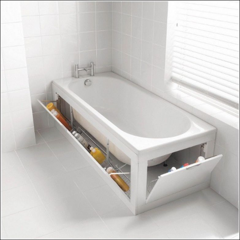 2. Храните вещи под ванной. Всё гениальное - просто. ванная комната, лайфхаки, уют