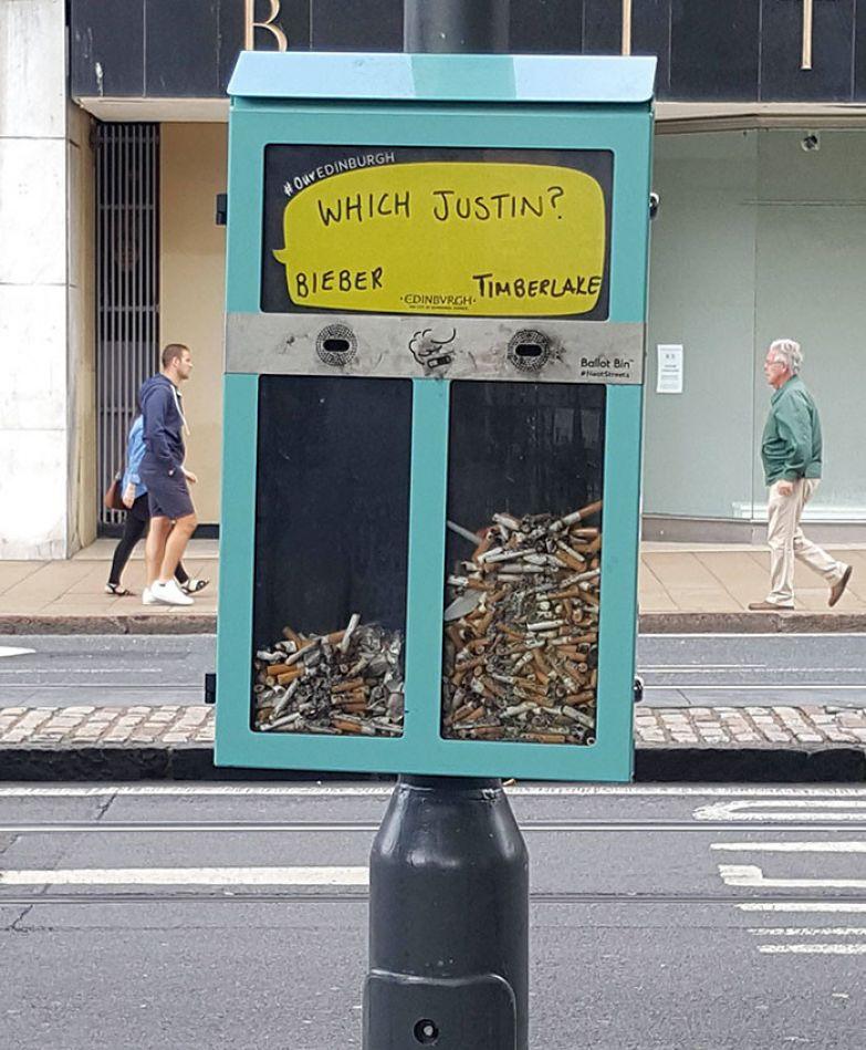 Публичная урна в Эдинбурге, где голослвать можно окурками. Неудивительно, что вокруг царит чистота! нестандартно, оригинально, проблемы, решения