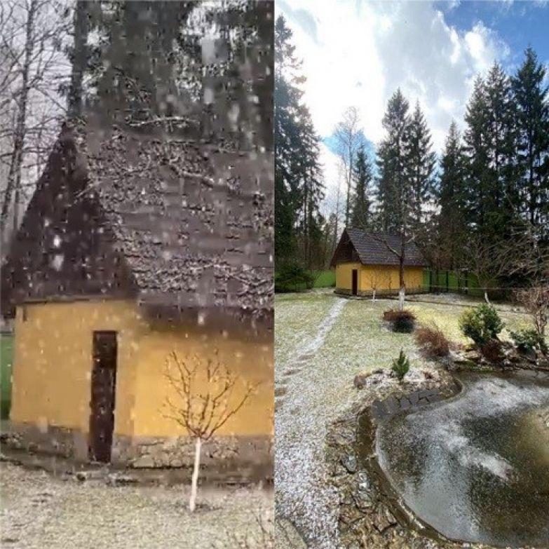 Пара также делится одинаковыми снимками бани, сделанными в разную погоду