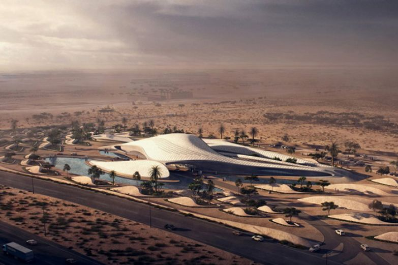 Energy-Efficient Sand Dune-Shaped Headquarters. Zaha Hadid Architects.