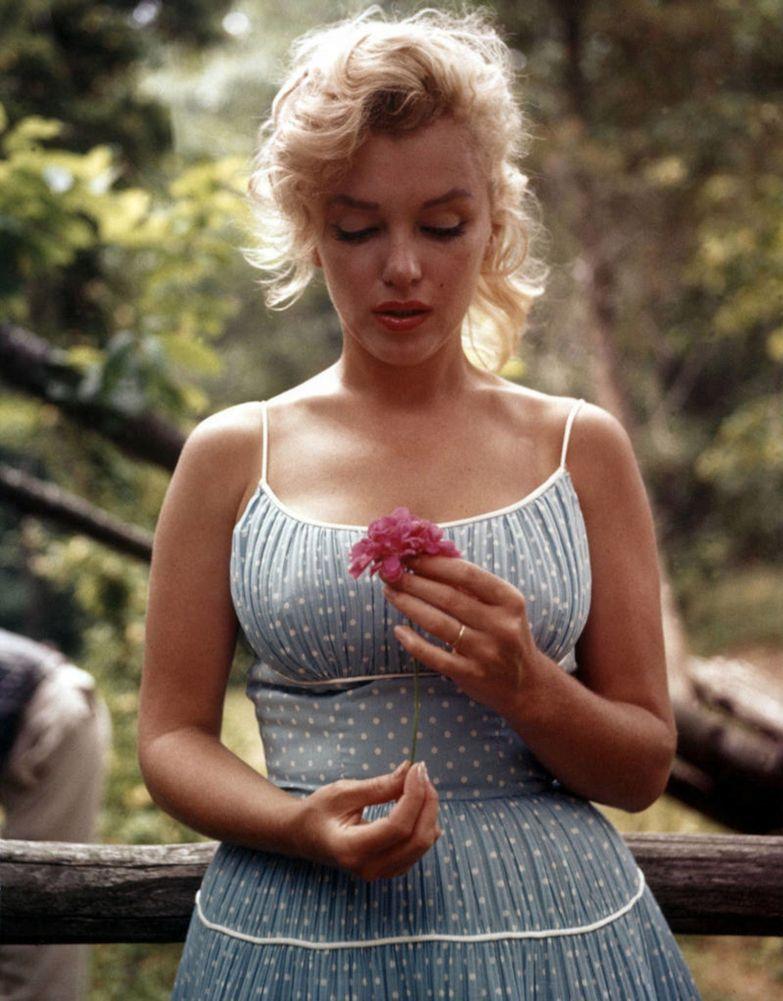 Монро с цветком в руке