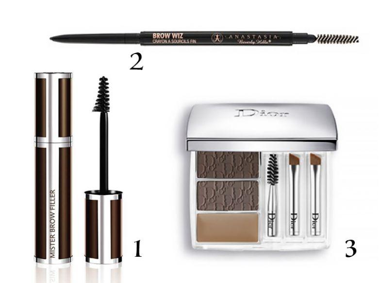 1. Моделирующее средство для бровей Givenchy Mr Brow Filler Mascara 2. Карандаш для бровей Anastasia Beverly Hills Brow Wiz 3. Набор для макияжа бровей Dior All-in-Brow 3D