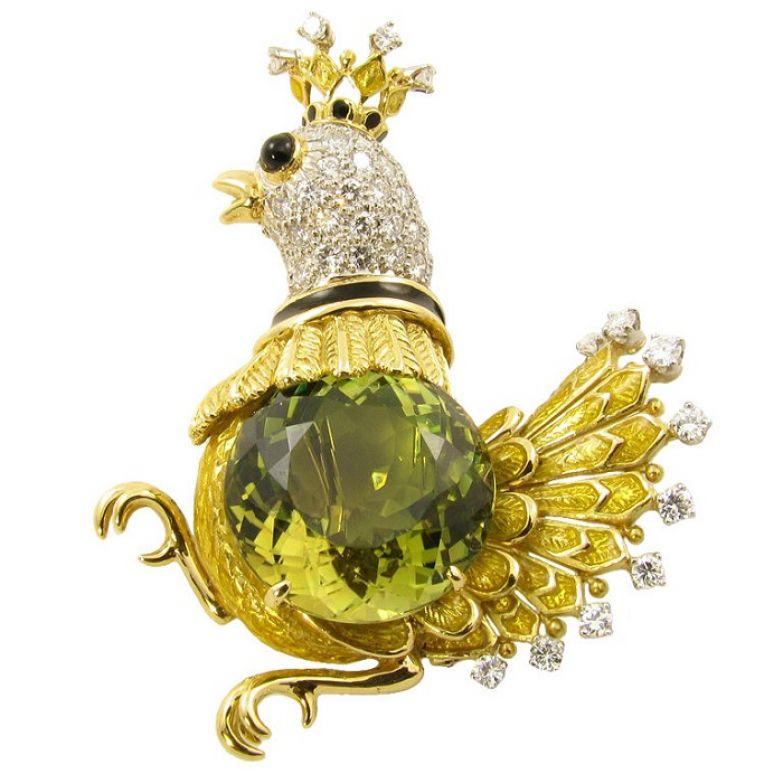 Золотая брошь «Птица» с цитрином, бриллиантами, черной эмалью